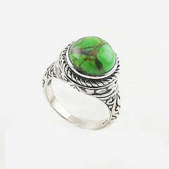 Green Copper Turquoise Sterling Silver Solitaire Ring - Keja Designs Jewelry