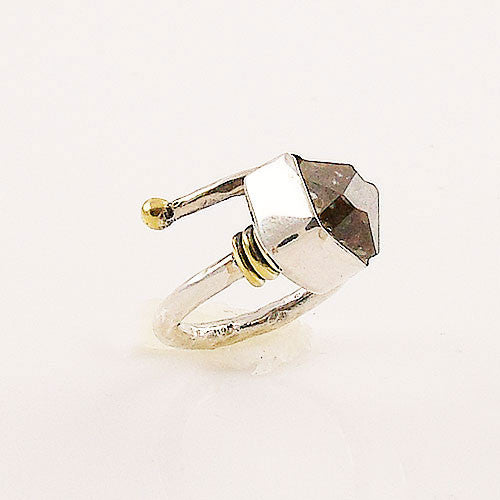 Herkimer Diamond Quartz Two Tone Adjustable Sterling Silver Ring - Keja Designs Jewelry