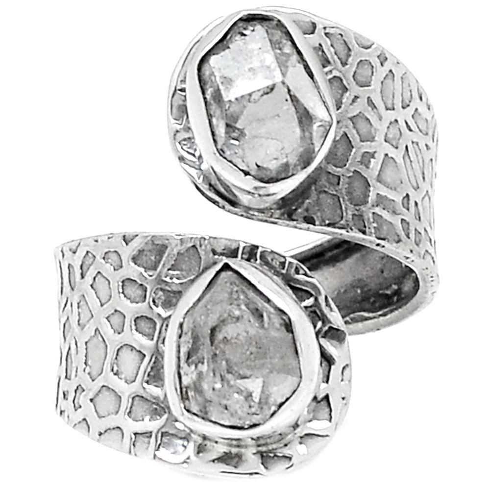 Herkimer Diamond Sterling Silver Patterned Adjustable Ring - Keja Designs Jewelry