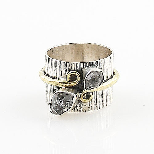 Herkimer Diamond Quartz Two Tone Sterling Silver Band Ring - Keja Designs Jewelry
