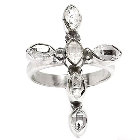 Herkimer Diamond Cross Sterling Silver Ring