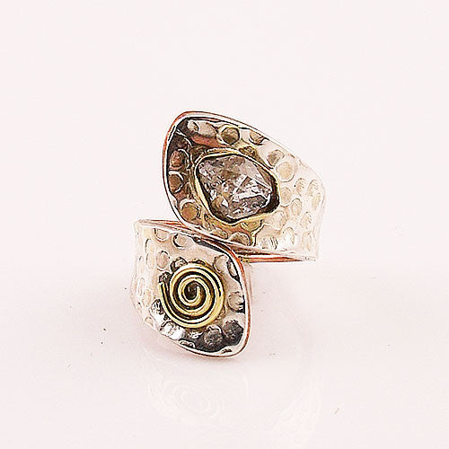 Herkimer Diamond Quartz Two Tone Adjustable Sterling Silver Wrap Ring - Keja Designs Jewelry