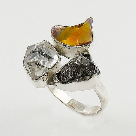Campo de Cielo Meteorite, Herkimer Diamond & Ethiopian Opal Rough Sterling Silver Ring