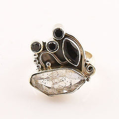 Herkimer Diamond & Black Onyx Sterling Silver Ring - Keja Designs Jewelry