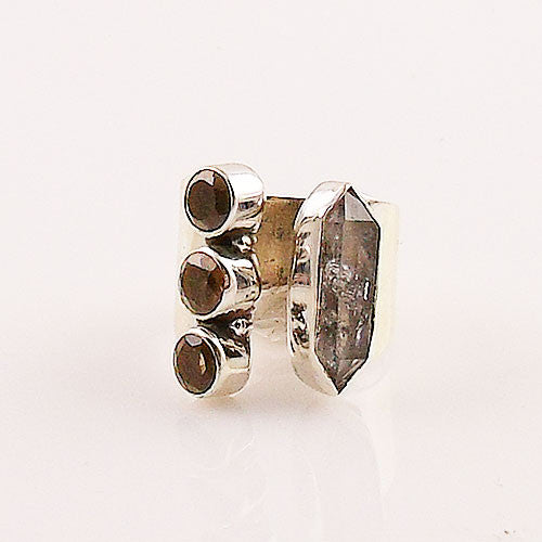 Herkimer Diamond  & Smoky Quartz Adjustable Sterling Silver Ring - Keja Designs Jewelry