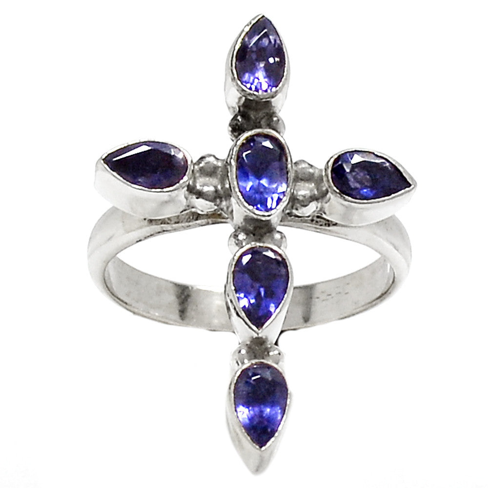 Iolite Cross Sterling Silver Ring - Keja Designs Jewelry