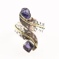 Iolite Rough Two Tone Sterling Silver Adjustable Ring - Keja Designs Jewelry