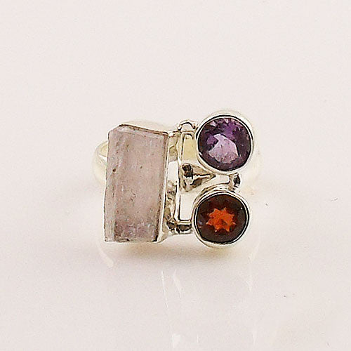 Amethyst, Garnet & Kunzite Rough Sterling Silver Ring - Keja Designs Jewelry