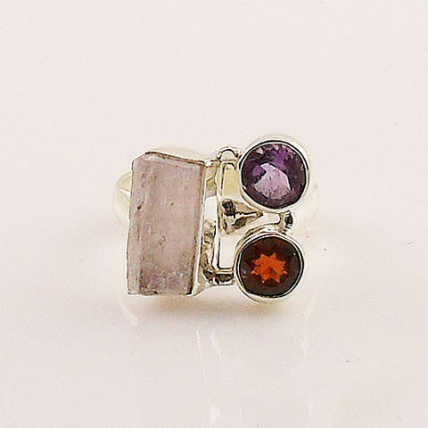 Amethyst, Garnet & Kunzite Rough Sterling Silver Ring