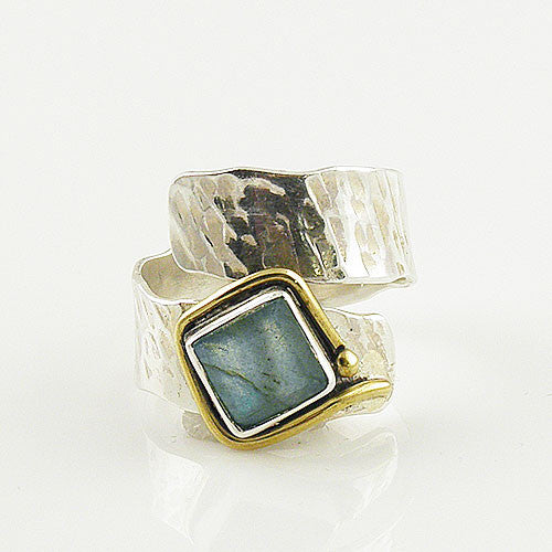 Two Tone Artisan Labradorite Wrap Ring - Keja Designs Jewelry