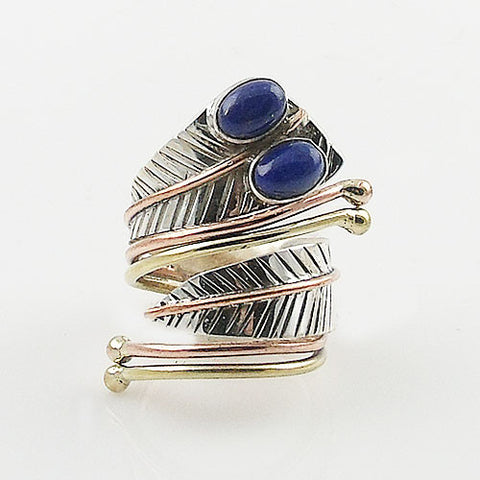 Lapis Three Tone Sterling Silver Adjustable Leaf Wrap Ring