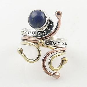 Lapis Three Tone Sterling Silver Adjustable Ring - Keja Designs Jewelry