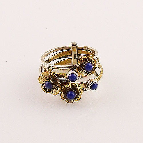 Lapis Sterling Silver Two Tone Stack Ring - Keja Designs Jewelry