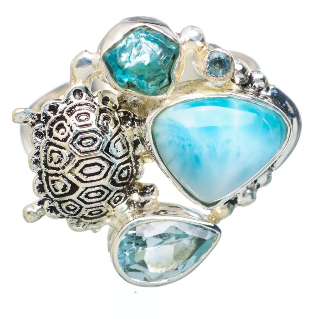 Larimar, Appetite Rough & Blue Topaz Sterling Silver Turtle Ring - Keja Designs Jewelry