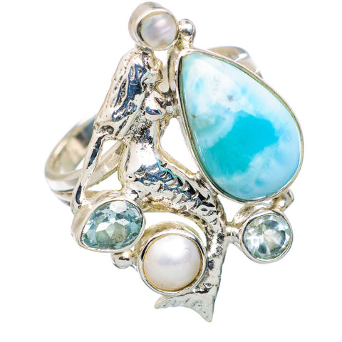 Larimar, Blue Topaz & Peaarl Sterling Silver Mermaid Ring