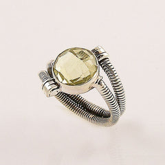 Lemon Quartz Spiral Sterling Silver Ring - Keja Designs Jewelry