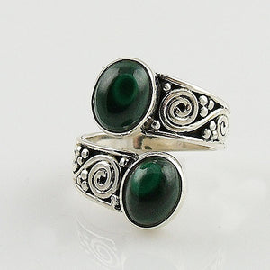 Malachite Sterling Silver Adjustable Ring - Keja Designs Jewelry