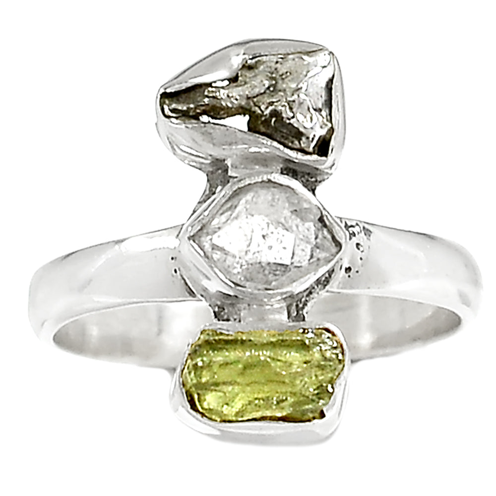 Herkimer Diamond, Moldavite & Campo De Cielo Sterling Silver Ring - Keja Designs Jewelry