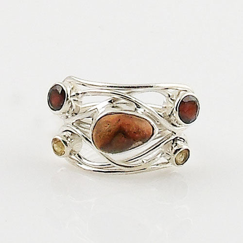 Mexican Fire Opal, Garnet & Citrine Sterling Silver Ring - Keja Designs Jewelry