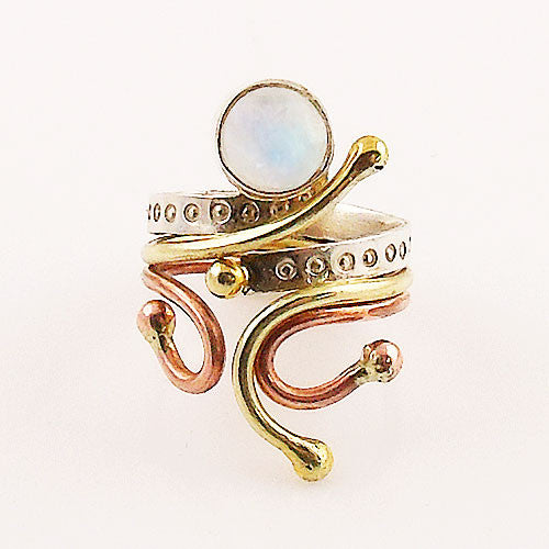 Moonstone Three Tone Sterling Silver Fanciful Ring - Keja Designs Jewelry