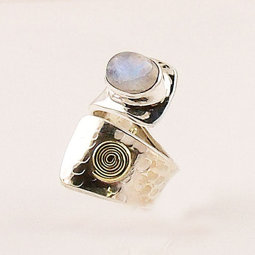 Moonstone Sterling Silver Bronze Spiral Adjustable Ring - Keja Designs Jewelry