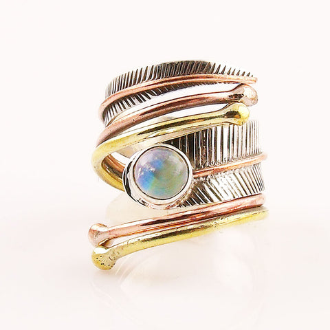Moonstone Three Tone Sterling Silver Adjustable Wrap Ring