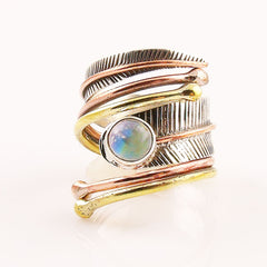 Moonstone Three Tone Sterling Silver Adjustable Wrap Ring - Keja Designs Jewelry