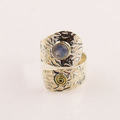 Moonstone Two Tone Adjustable Spiral Design Ring - Keja Designs Jewelry