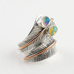 Ethiopian Opal Two Tone Sterling Silver Adjustable Ring - Keja Designs Jewelry