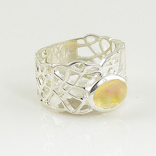 Ethiopian Opal Sterling Silver Open Mosaic Ring - Keja Designs Jewelry