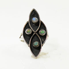 Ethiopian Opal Artisan Sterling Silver Ring - Keja Designs Jewelry