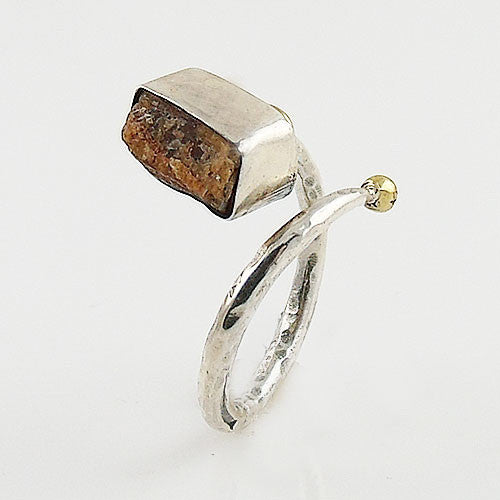 Orange Kyanite Rough Two Tone Adjustable Sterling Silver Ring - Keja Designs Jewelry