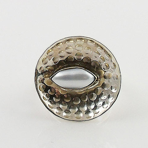 Pearl Two Tone Artisan Crafted Ring
