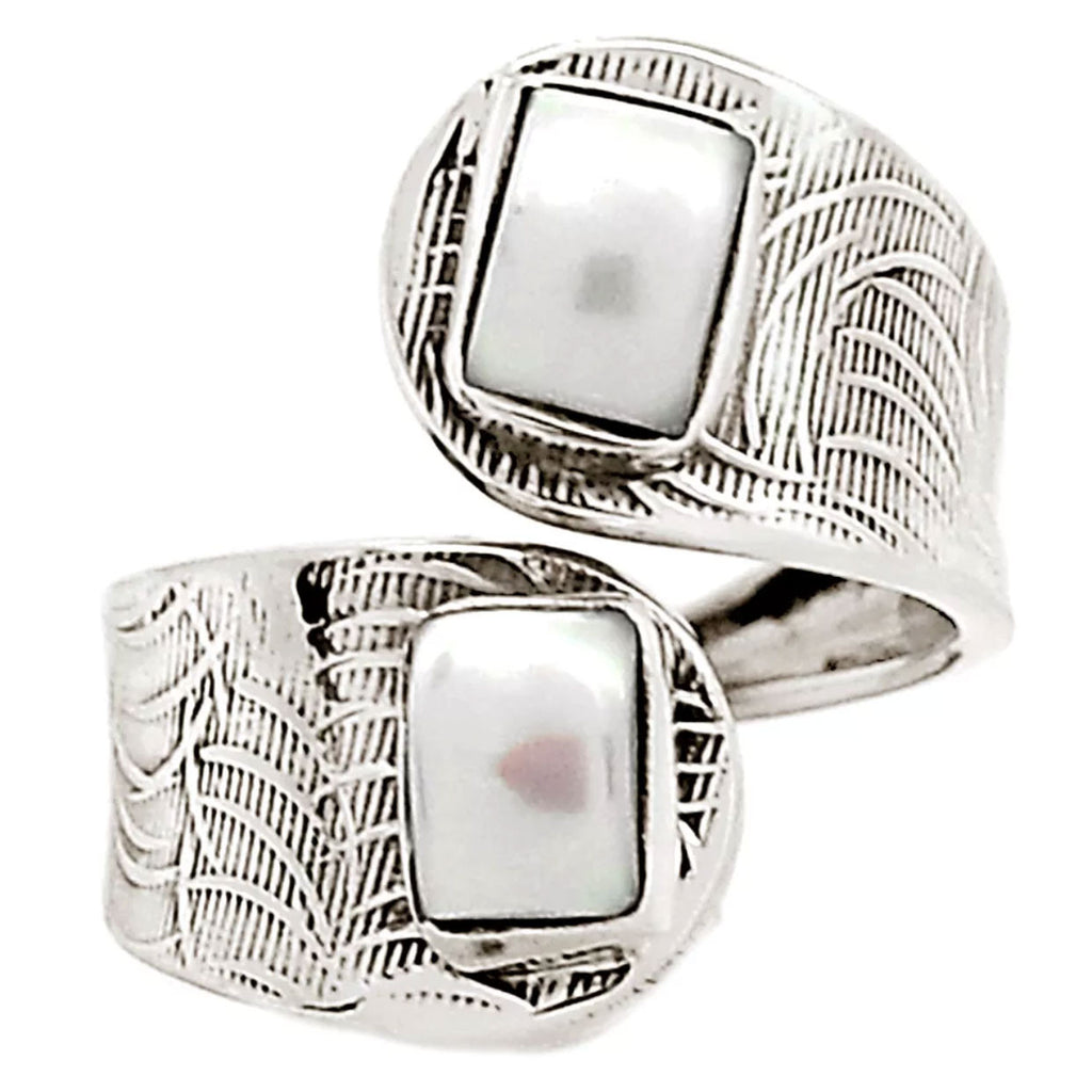 Pearl Squares Sterling Silver Adjustable Wrap Ring - Keja Designs Jewelry