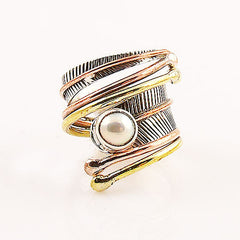 Pearl Three Tone Sterling Silver Adjustable Wrap Ring - Keja Designs Jewelry