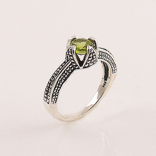 Peridot Sterling Silver Textured Ring - keja jewelry - Keja Designs Jewelry