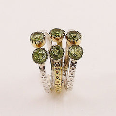 Peridot Sterling Silver Two Tone Adjustable Ring - Keja Designs Jewelry