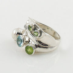 Peridot, Pearl, Blue & White Topaz Sterling Silver Ring - Keja Designs Jewelry