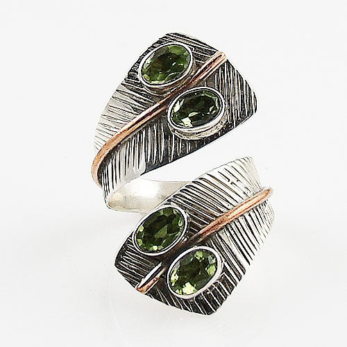 Peridot Two Tone Adjustable Sterling Silver Leaf Ring - Keja Designs Jewelry