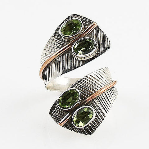 Peridot Two Tone Adjustable Sterling Silver Leaf Ring