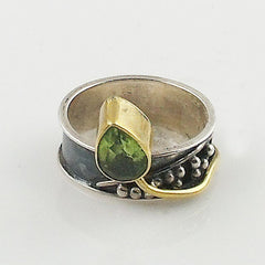 Peridot Two Tone Sterling Silver Leaf Ring - Keja Designs Jewelry