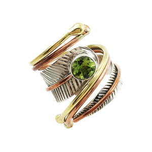 Peridot Three Tone Sterling Silver Adjustable Leaf Wrap Ring - Keja Designs Jewelry