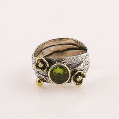 Peridot Sterling Silver Two Tone Ring - Keja Designs Jewelry