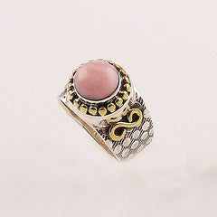 Pink Opal Two Tone Sterling Silver Ring - keja jewelry - Keja Designs Jewelry