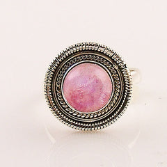 Pink Moonstone Spiral Sterling Silver Ring - Keja Designs Jewelry