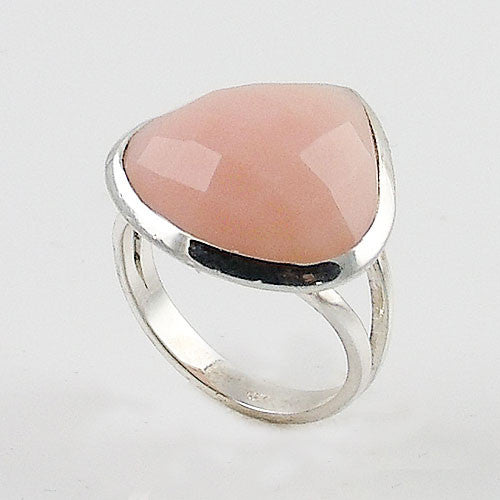 Pink Opal Faceted Fancy Cut Sterling Silver Ring - Keja Designs Jewelry