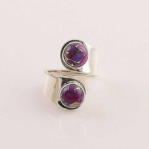 Purple Copper Turquoise Sterling Silver Adjustable Ring - keja jewelry - Keja Designs Jewelry