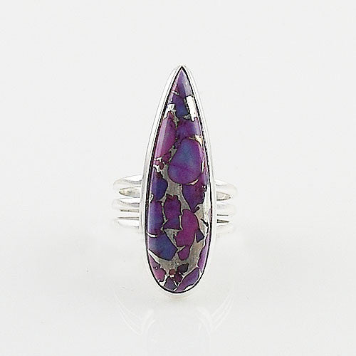 Purple Copper Turquoise Sterling Silver Ring - Keja Designs Jewelry