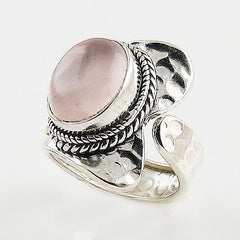 Rose Quartz Sterling Silver Two Tone Adjustable Wrap Ring - Keja Designs Jewelry