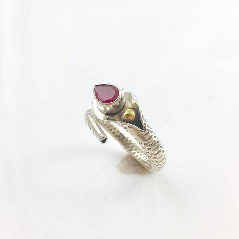 Ruby Sterling Silver Textured Ring